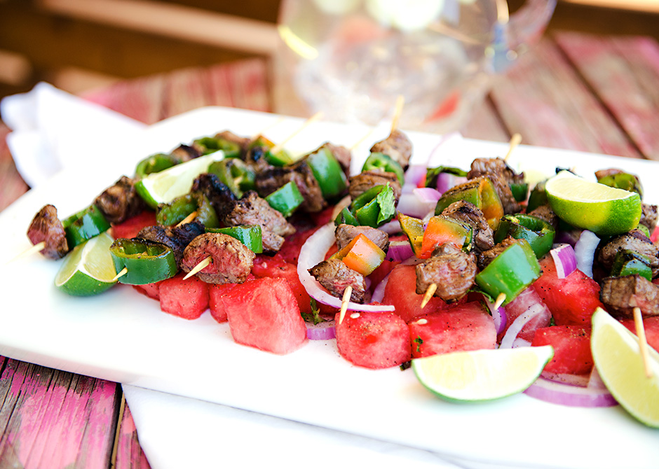 Spicy Beef Kebabs with Watermelon Salad