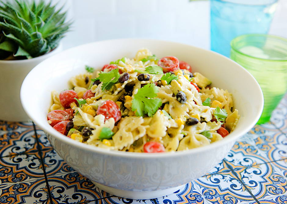 Easy Tex Mex Pasta Salad in a bowl