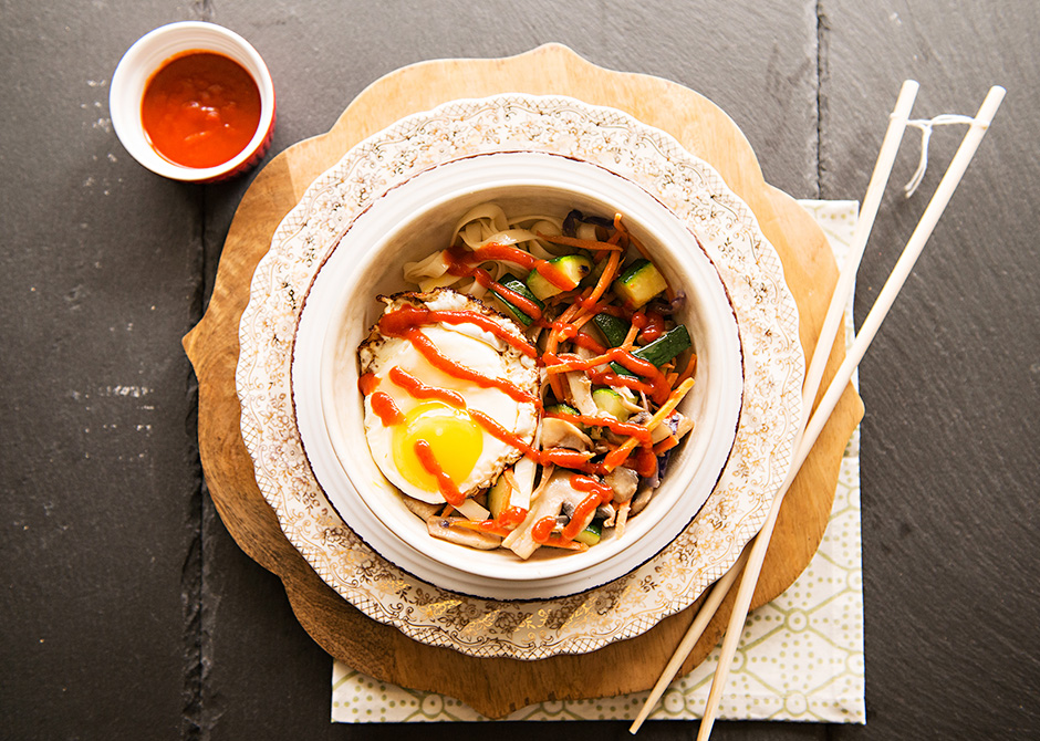 Vegetarian Spicy Korean Bibimbap Bowl