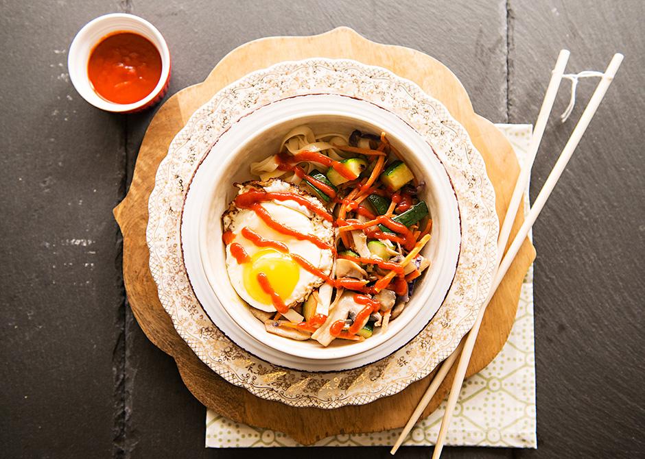 Vegetarian Spicy Korean Bibimbap Bowl